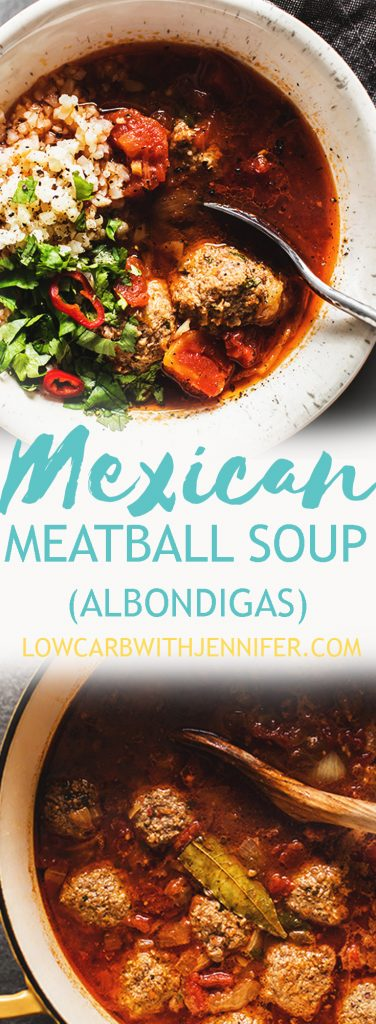 Albondigas is a hearty Mexican meatball soup with a simple soup base made of diced tomatoes, chipotle salsa, and broth. From jenniferbanz.com #Paleorecipes #lowcarbrecipes #ketorecipes #mexicanfood