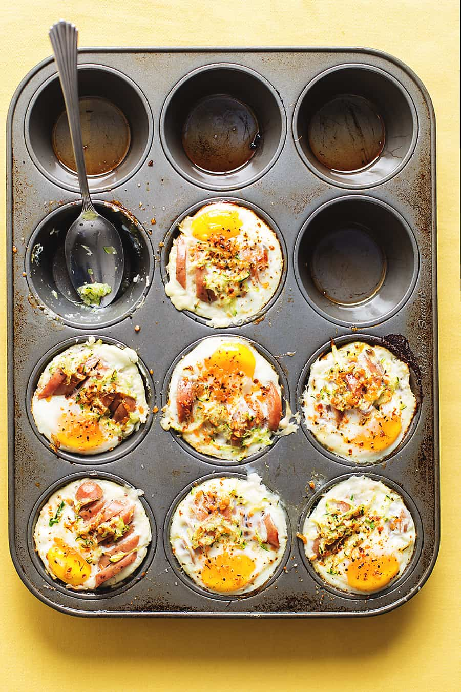 egg muffin cups in a muffin tin