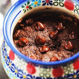 chocolate cake in a colorful mug