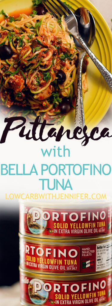 zucchini pasta puttanesca with tuna is a low carb 30 minute meal with pantry ingredients! Made using Bella Portofino tuna and zucchini noodles! #ad #ketorecipes #ketodiet #easydinnerrecipes #healthydinnerrecipes #healthymeals #lowcarbrecipes