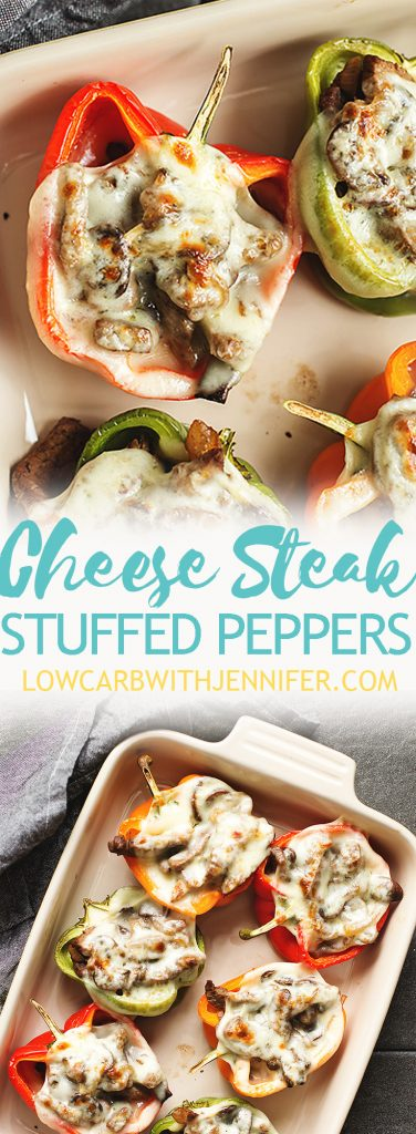 Philly cheesesteak stuffed peppers are full of flavor and easy to make. The peppers are filled with steak, caramelized onions, mushrooms, and topped with provolone! A healthy low carb dinner! jenniferbanz.com #lowcarbmeals #ketorecipes #easydinnerrecipes #lowcarbdiet #ketofoods