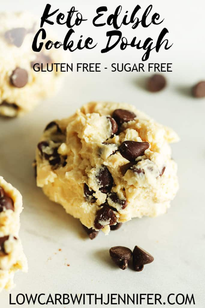 An easy 5 ingredient recipe for delicious edible chocolate chip cookie dough low carb dessert! This cookie dough is flour free and sugar free! KETO COOKIE DOUGH #lowcarbrecipes #ketorecipes #keto #ketodiet