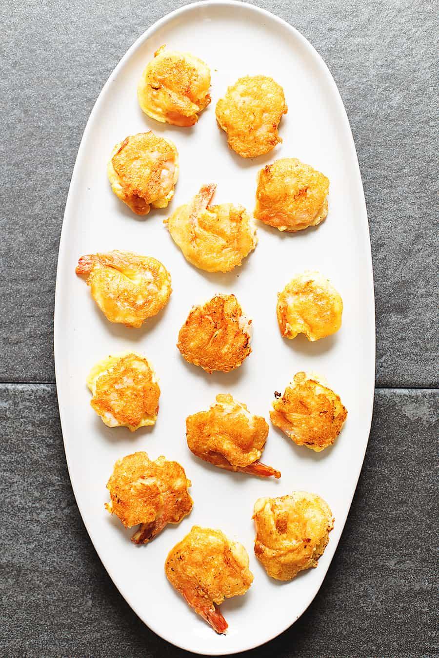 battered shrimp on a platter