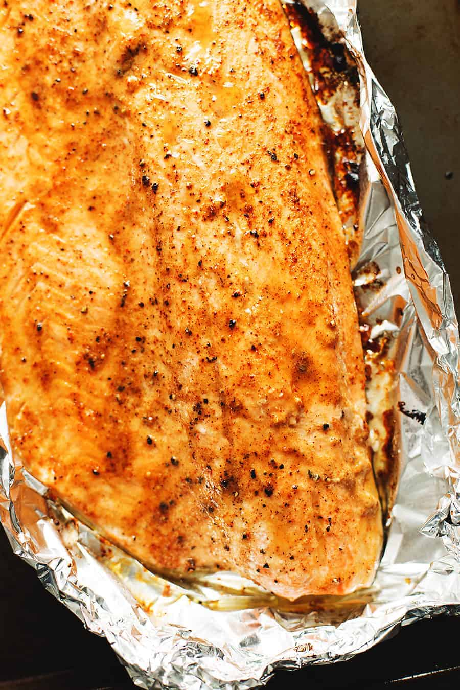 a salmon filet baked in foil