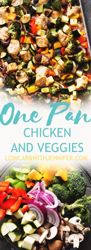 #ad #atkinsinfluencer This super easy, low carb one pan chicken and veggies recipe (sheet pan meal) is enough meal prep for 5 lunches throughout the week! It has chicken breast, broccoli, mushrooms, bell pepper, zucchini, and onion - so yummy! #lowcarbrecipe #ketorecipe @atkinsNutritionals #Atkins #eatrightnotless #todaysAtkins #lowcarb #lchf