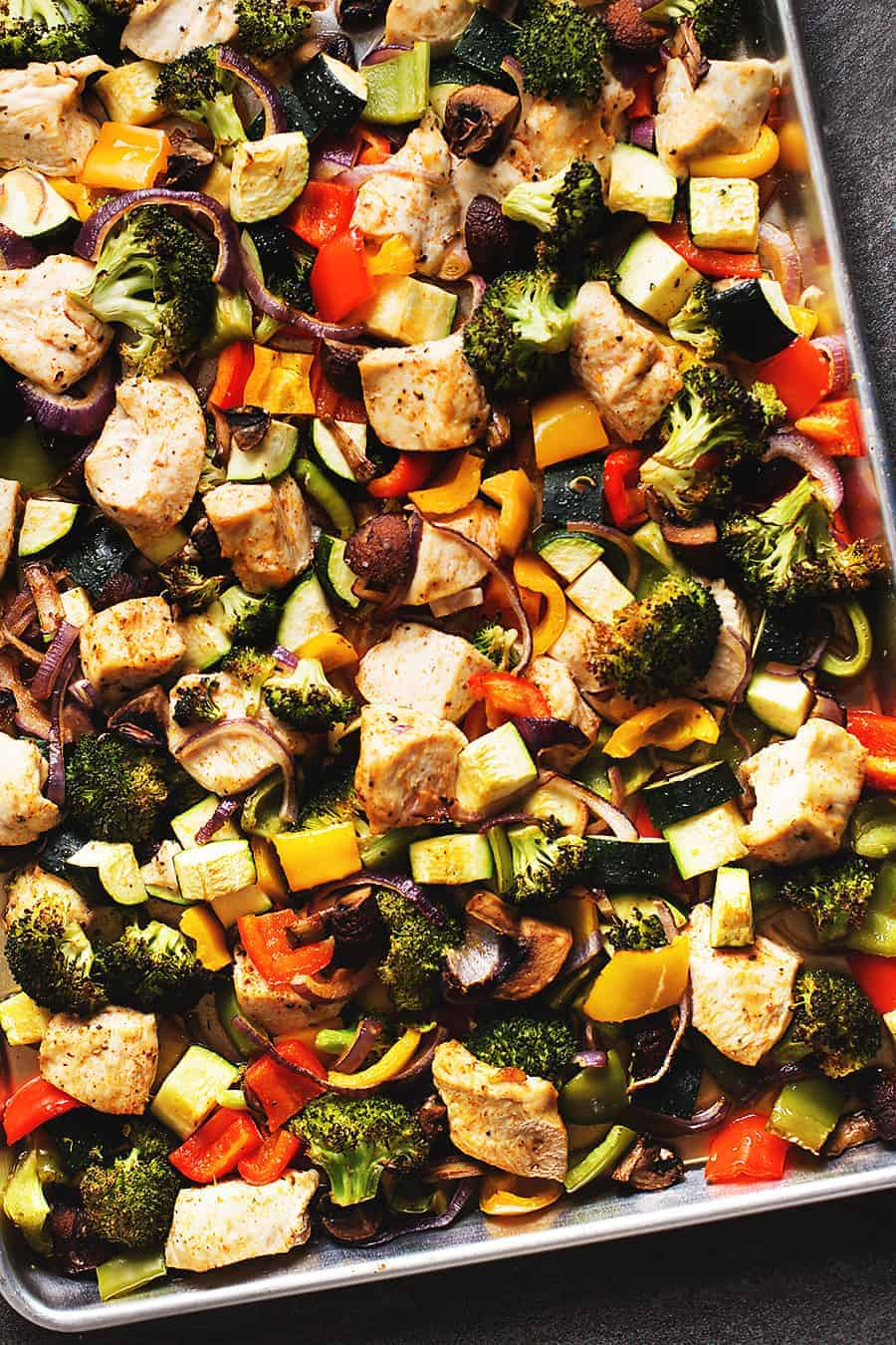 a sheet pan full of chicken and vegetables. Broccoli, bell pepper, onion, zucchini, and mushrooms