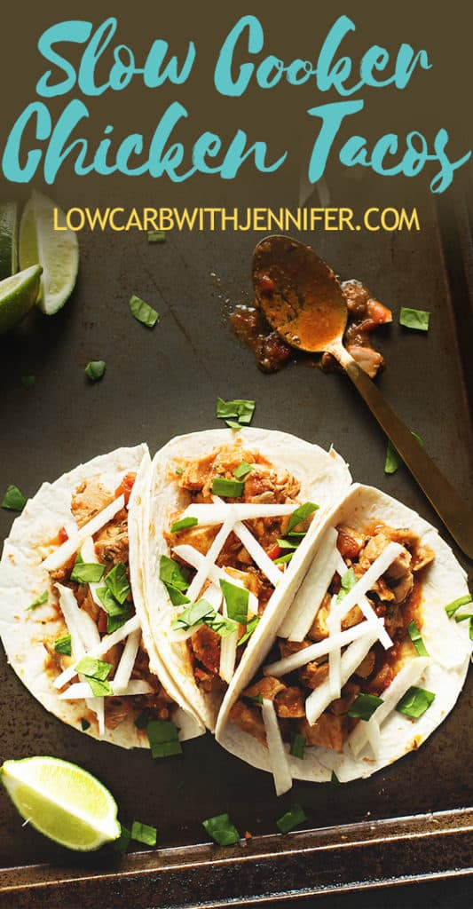 The most amazing chicken taco meat you will ever make using flavorful chicken thighs. This easy crockpot chicken tacos recipe is only 6 ingredients! #lowcarb #keto #lowcarbrecipes #ketorecipes