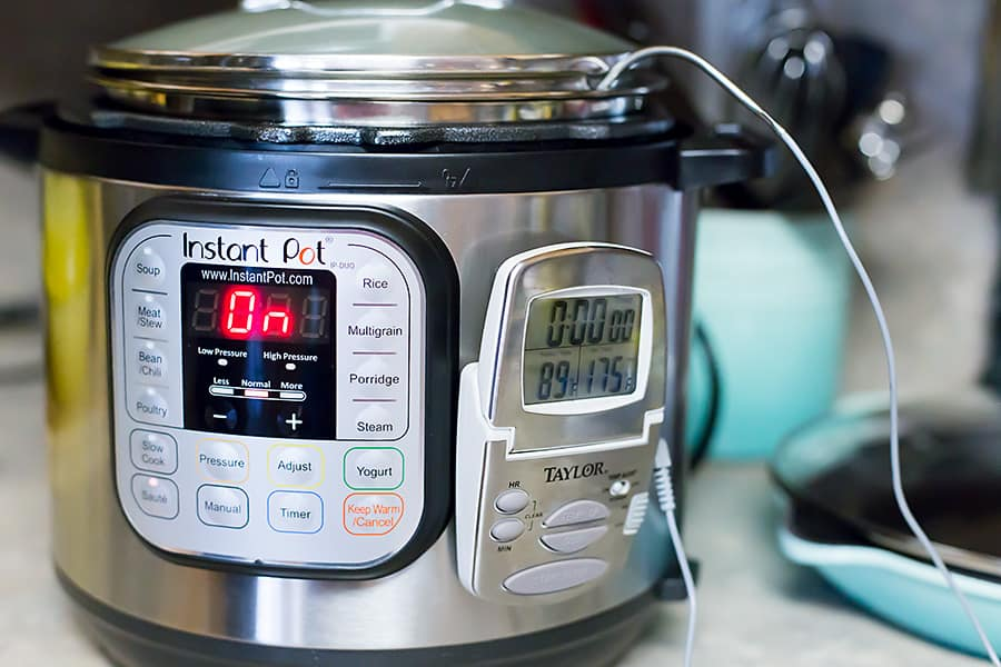 a thermometer attached to an instant pot