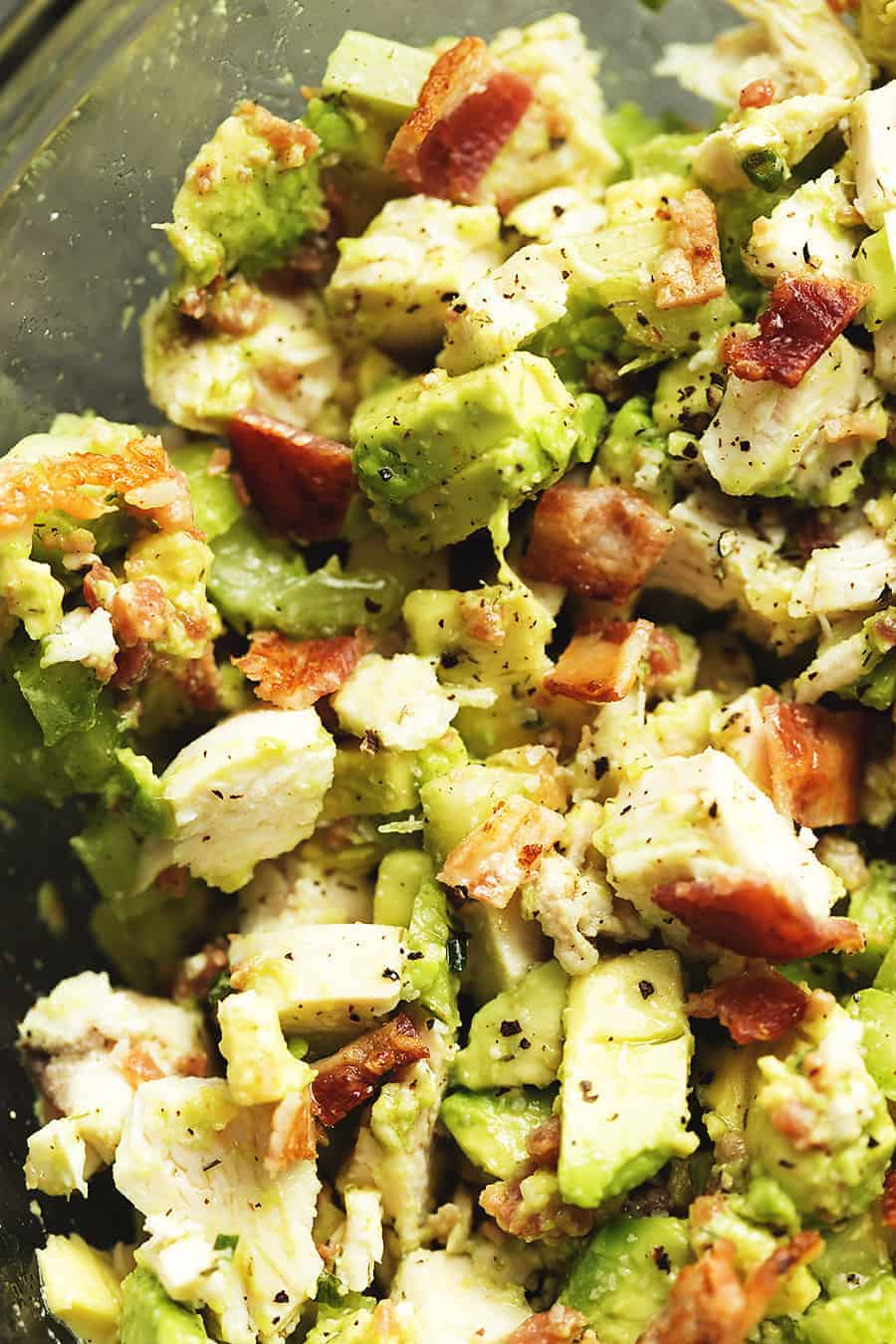 Keto Chicken Salad with Avocado and Bacon • Low Carb with