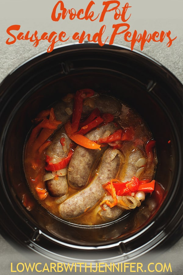 cooked sausage and peppers in a slow cooker