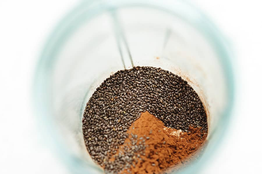chia seeds and cocoa powder in a blender jar