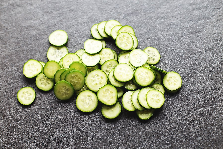cucumbers sliced for fast food pickles