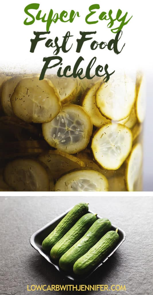 Make your own fast food pickles at home in less than 15 minutes. They are ready to eat immediately and taste just like those famous pickles without having to go through the drive thru! #pickles #canning #ketorecipes #lowcarb