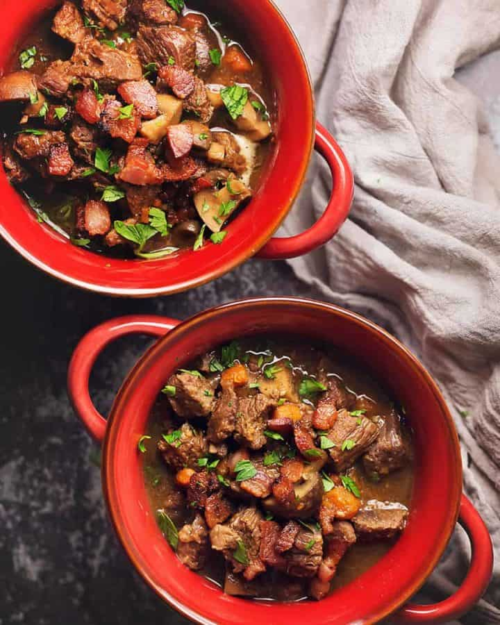 instant pot beef stew in red bowls