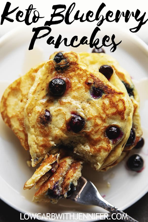 These are far and away the best keto pancakes I have ever made. Fluffy Pancakes made with coconut flour and filled with blueberries. Top with your favorite sugar free syrup for an amazing keto breakfast treat. #ketobreakfast #lowcarbrecipe #ketorecipe #keto #pancakes