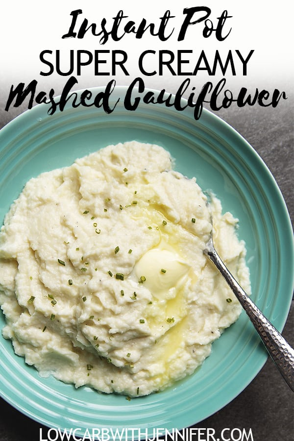 This is the creamiest mashed cauliflower you will ever have. The instant pot makes the cauliflower super soft and it purees like a dream. Cauliflower Mashed potatoes recipe #lowcarb #cauliflower #lowcarbdiet #ketorecipes #keto