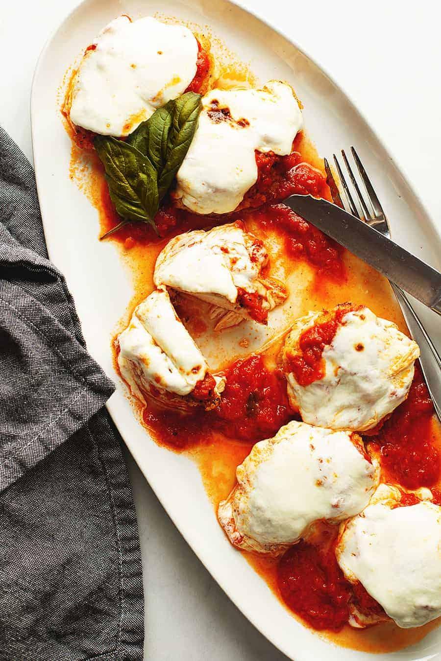 keto chicken parmesan on a white platter
