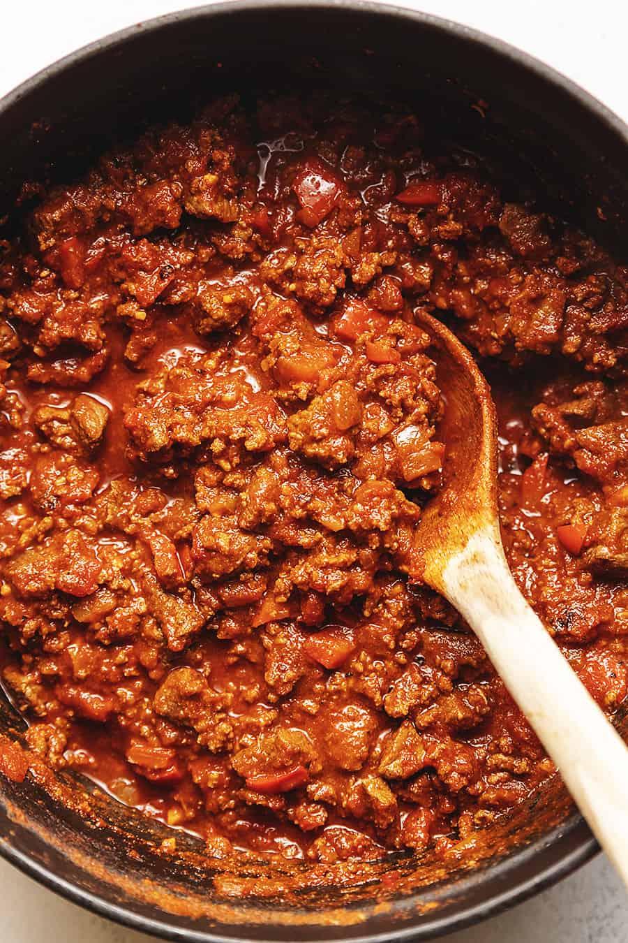 keto chili in a red pot