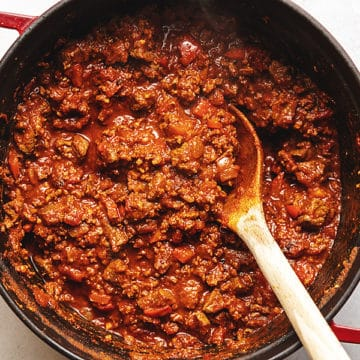 easy keto chili in a red pot