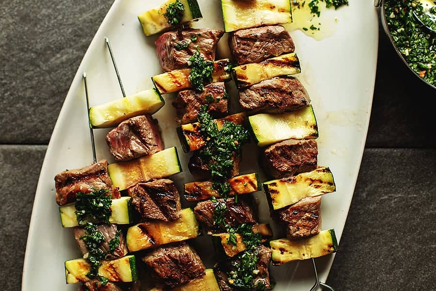 steak kabobs with Chimichurri