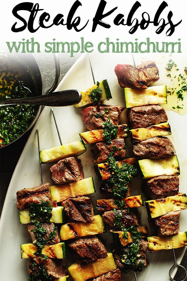 These Beef Shish Kabobs are delicious grilled steak skewered with zucchini (or any veggie) and then served with a homemade easy chimichurri. I also give instructions for baking these in the oven. #steakrecipe #lowcarb #keto #ketorecipes