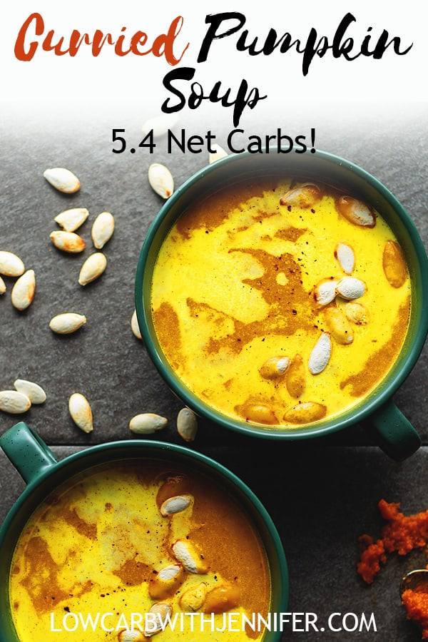"""This Pumpkin Curry Soup from Carolyn Ketchum's new cookbook """"Keto Soups & Stews"""" is so perfect for warming you up on a cool Fall day. I made the dairy free version which was so rich and creamy using coconut milk. Can you believe this is ready in 20 minutes and has only 5.4 net carbs?!"""