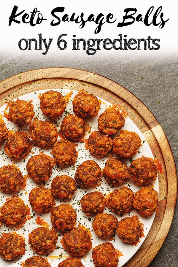 These low carb and keto sausage balls use almond flour instead of the traditional baking mix. They are a super easy keto appetizer with only 6 ingredients and 20 minutes to bake.
