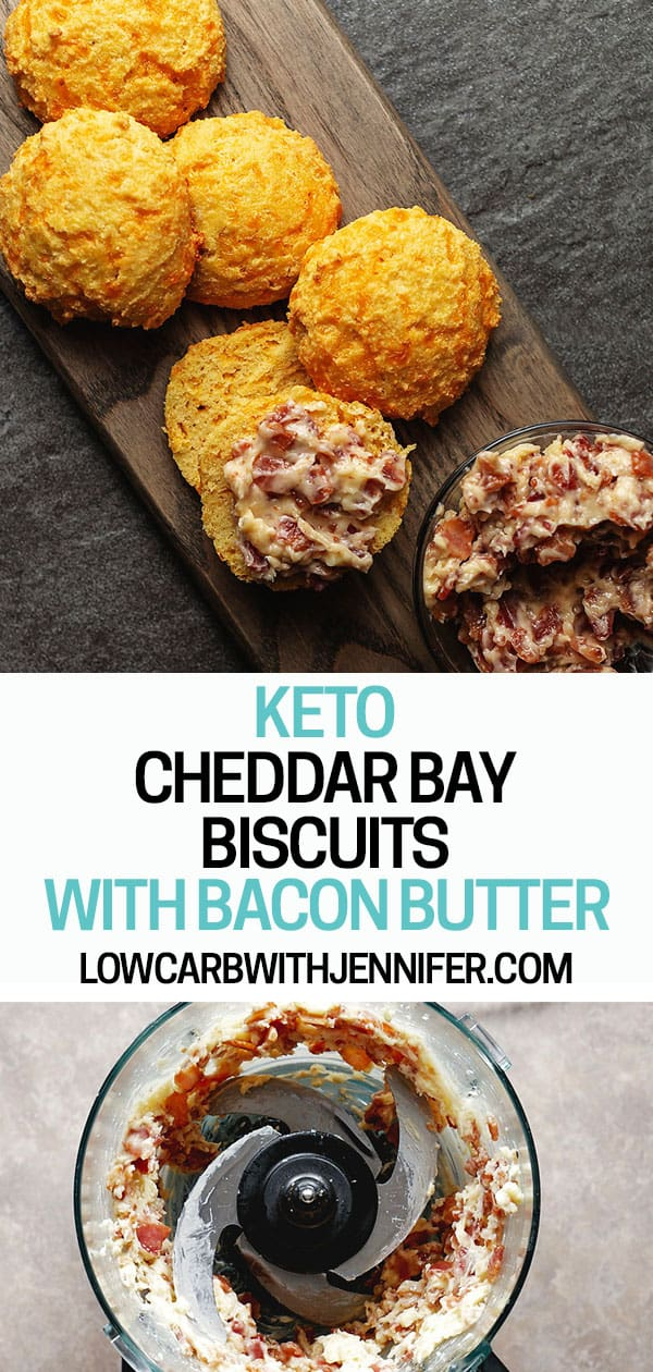 These are the best keto biscuits! I packed them with garlic and cheddar flavor and they are super easy to make using almond flour. Pair them with delicious bacon butter!