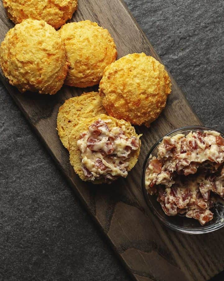 keto cheddar biscuits and bacon butter