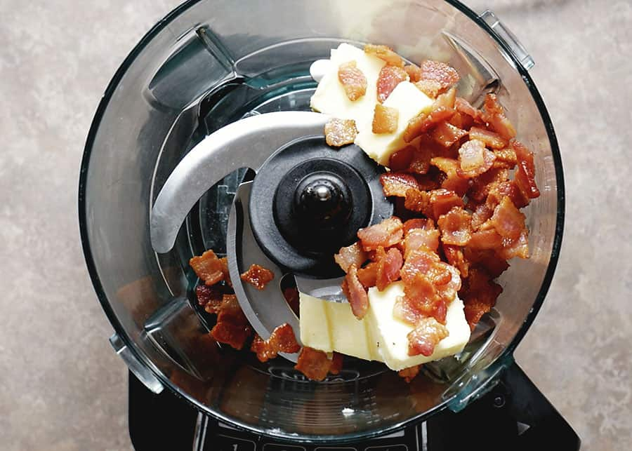 bacon and butter in a food processor