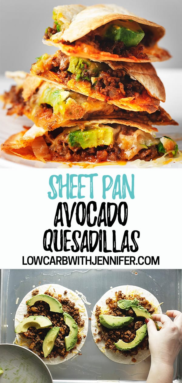 Oven baked quesadillas...no flipping required! What is better than beefy and cheesy quesadillas? What if we add avocado (super yum) and make them easier by baking them in the oven!