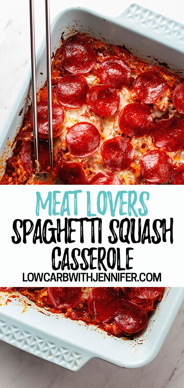 This low carb and keto spaghetti squash casserole is super cheesy and filled with beef and sausage and topped with pepperoni then baked in the oven! It is full of yummy Italian flavors and only 7 net carbs per serving!