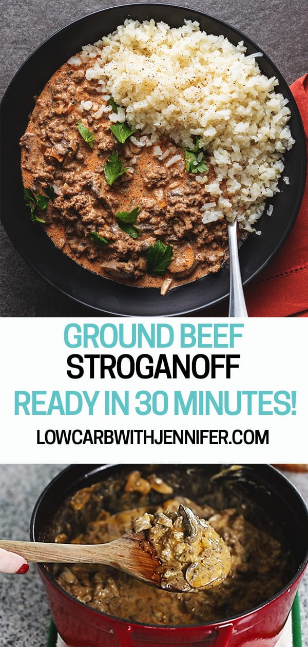 This easy ground beef stroganoff recipe is healthy, ready in 30 minutes, filled with mushrooms and delicious seasonings, and only uses real ingredients...no soups!