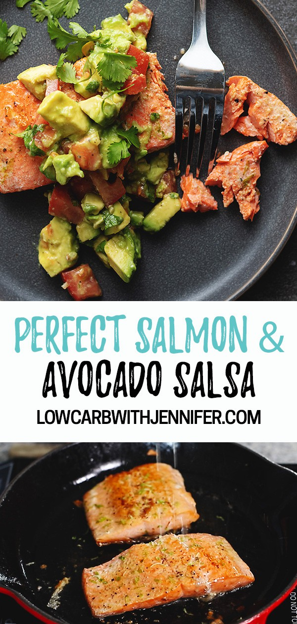 Watch how I get perfectly cooked salmon on the stove and I show you a quick 5 ingredient Avocado Salsa. This recipe is so full of flavor and ready in about 15 minutes.