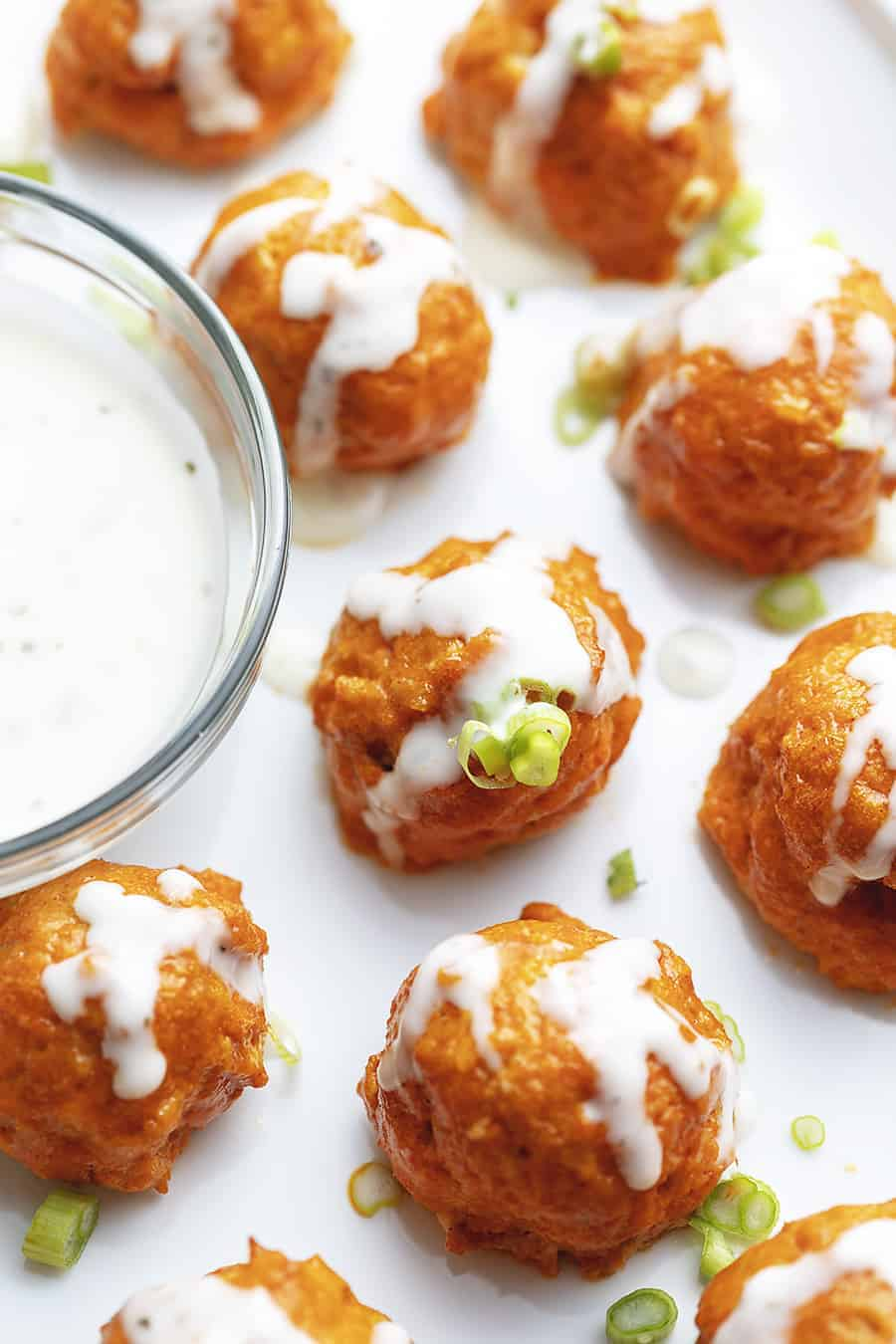 These keto Buffalo Chicken Meatballs are the perfect low carb appetizer! I love to serve them with extra buffalo sauce and ranch.