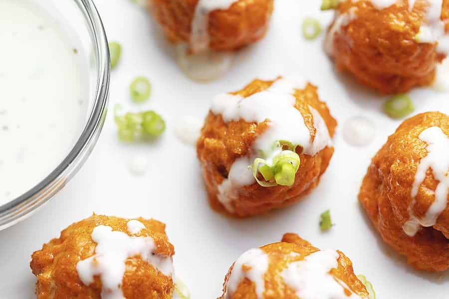baked buffalo chicken meatballs with ranch