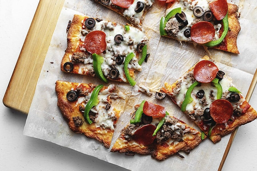fathead pizza crust with supreme toppings
