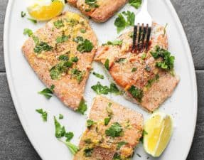 This baked lemon pepper salmon is ready in minutes and super easy. Perfect for a quick weeknight dinner and make extras for leftovers the next day.