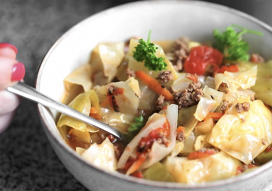 unstuffed cabbage soup in a bowl