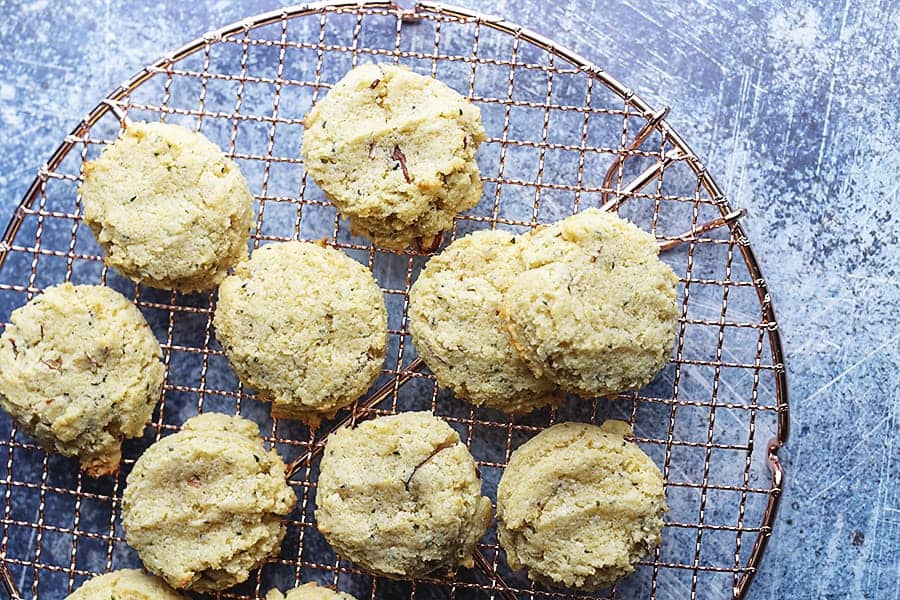 low carb breakfast cookies on a wire rack