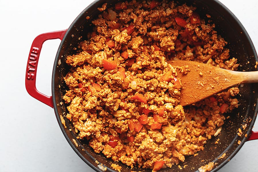 cooked ground turkey in a red pot