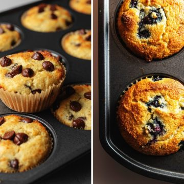 chocolate chip and blueberry muffins made with almond flour