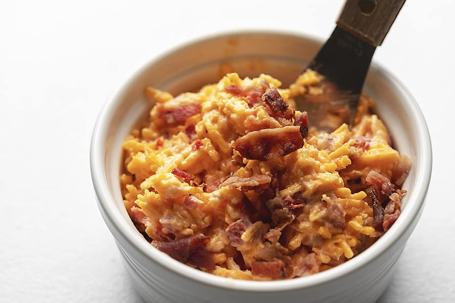 keto pimento cheese with bacon in a white bowl
