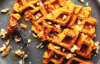 sweet potato waffles on a gray plate