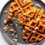 sweet potato waffles on a gray plate