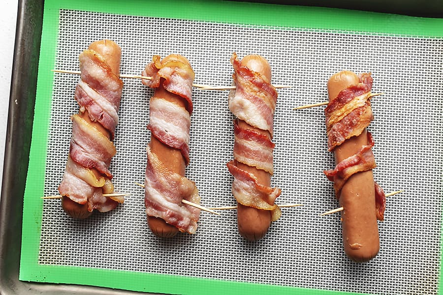 bacon wrapped hot dogs with tooth picks