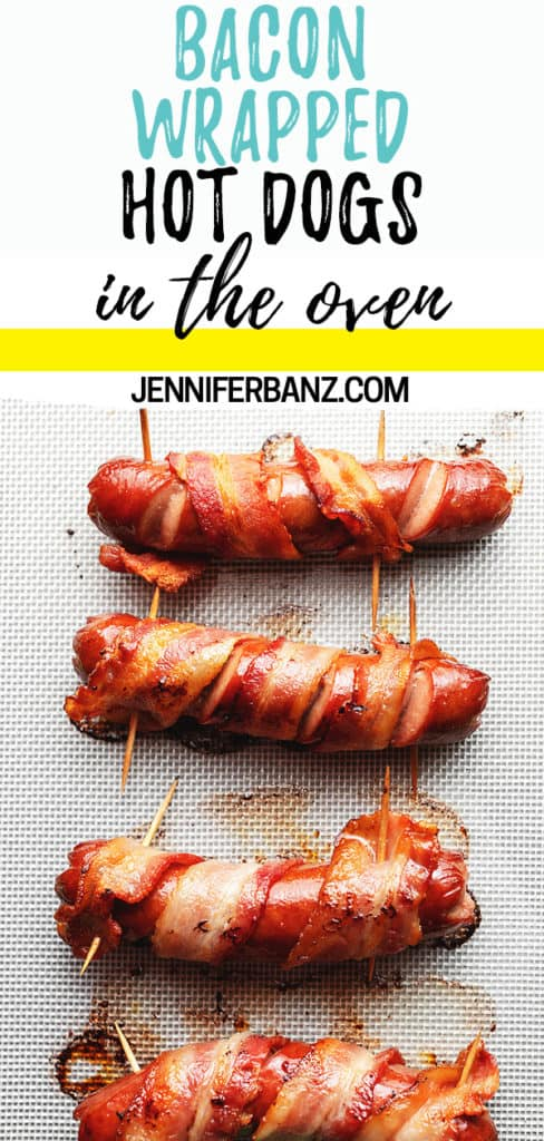 bacon wrapped hot dogs Pinterest pin