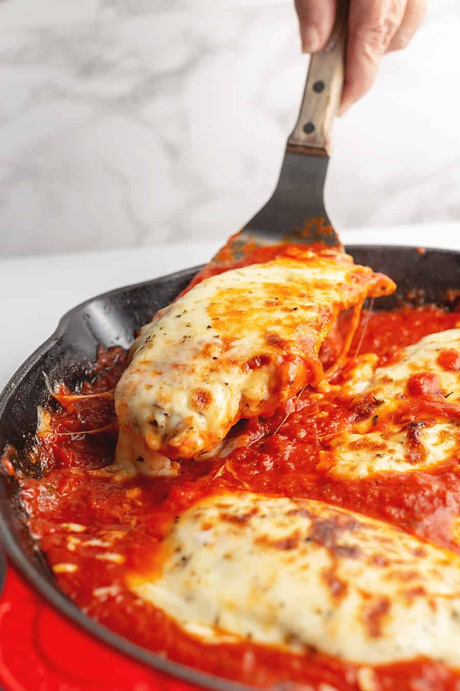 chicken mozzarella in a skillet