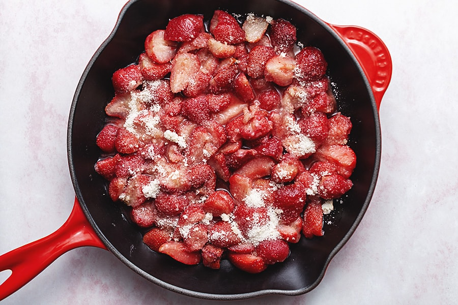 keto strawberry crisp in a skillet