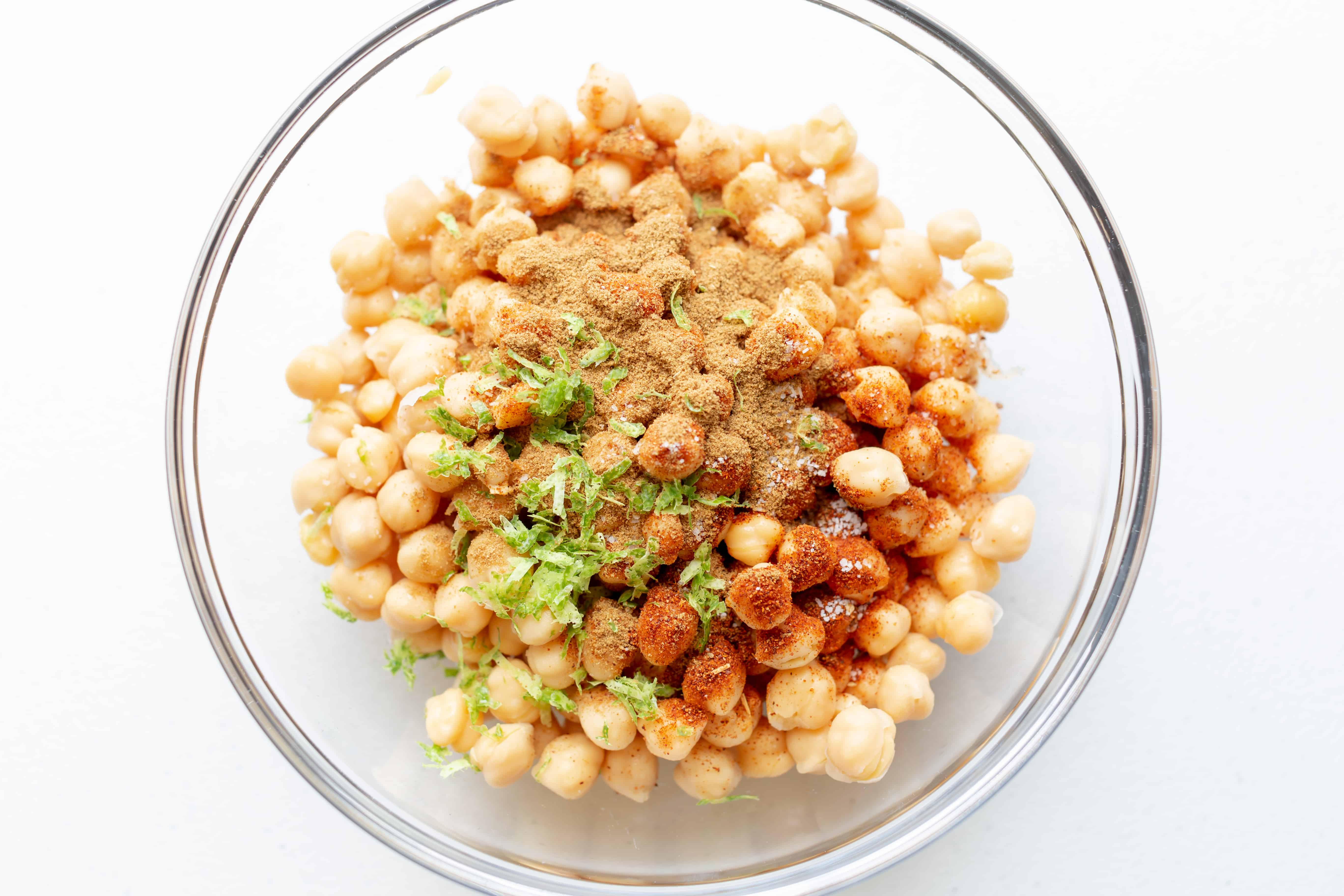 chickpeas with seasonings in a bowl